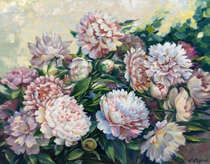 """Painting titled """"Peonies"""" by Елена Серго, Original Art, Oil"""