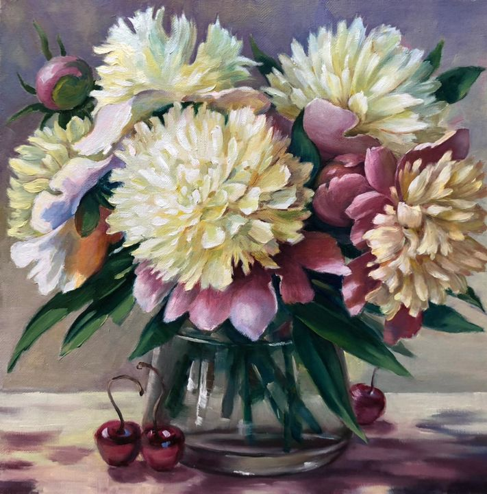 """Painting titled """"Peonies and cherries"""" by Елена Серго, Original Art, Oil"""