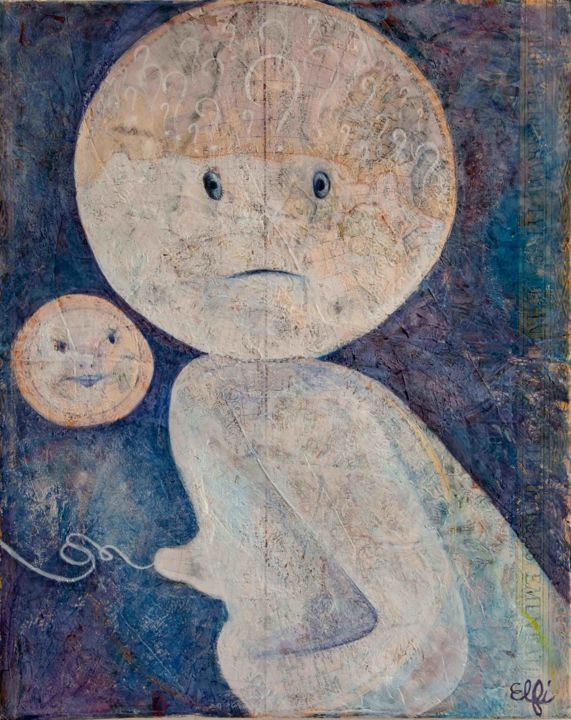 Bébé Lune s'interroge... - Painting,  19.7x15.8 in, ©2017 by Elfi -