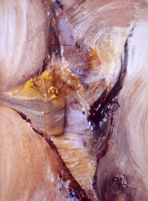 Ecorces - Painting,  0.4 in, ©2007 by Elfi -
