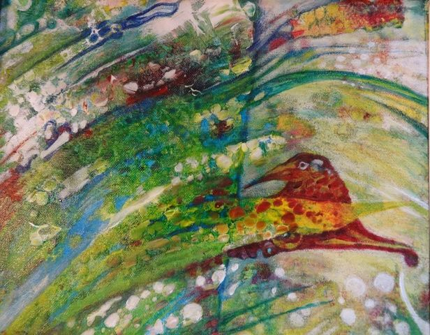 oiseau-magique. - Painting,  50x40 cm ©2015 by Elfi -                                                            Abstract Expressionism, Canvas, Animals, oiseaux