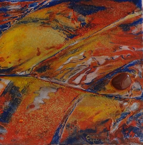 Jaspe rouge - Painting,  20x20 cm ©2016 by Elfi -                                                            Abstract Art, Other, Abstract Art, jaspe, pierre semi précieuse