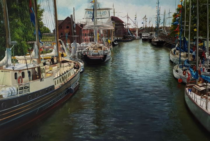 """Painting titled """"Harbor"""" by Mirela, Original Art, Oil Mounted on Stretcher frame"""