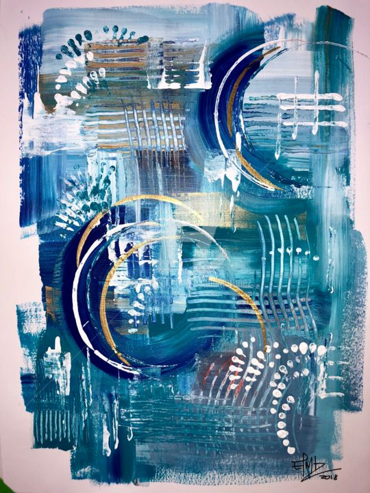 1-01 Untitled/Acrylic on Paper (2018) 9 x 12 in - Painting,  12x9 in, ©2018 by Eliana Martínez -                                                                                                                                                                          Abstract, abstract-570, Abstract Art