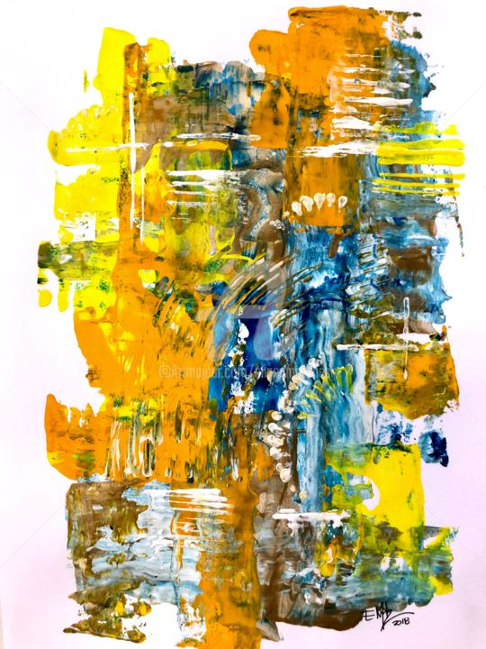 1-10 Untitled/Acrylic on Paper (2018) 9 x 12 in - Painting,  12x9 in, ©2018 by Eliana Martínez -                                                                                                                                                                          Abstract, abstract-570, Abstract Art