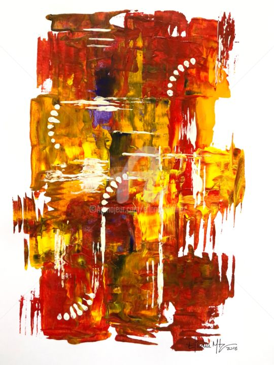 1-17 Untitled/Acrylic on Paper (2018) 9 x 12 in - Painting,  12x9 in ©2018 by Eliana Martinez -                                        Abstract Art, Abstract Art