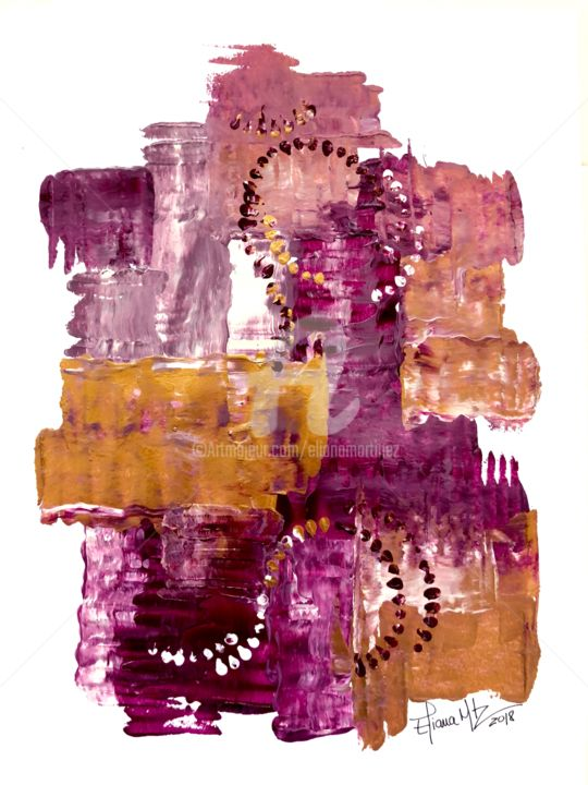 1-26 Untitled/Acrylic on Paper (2018) 9 x 12 in - Painting,  12x9 in, ©2018 by Eliana Martínez -                                                                                                                                                                          Abstract, abstract-570, Abstract Art