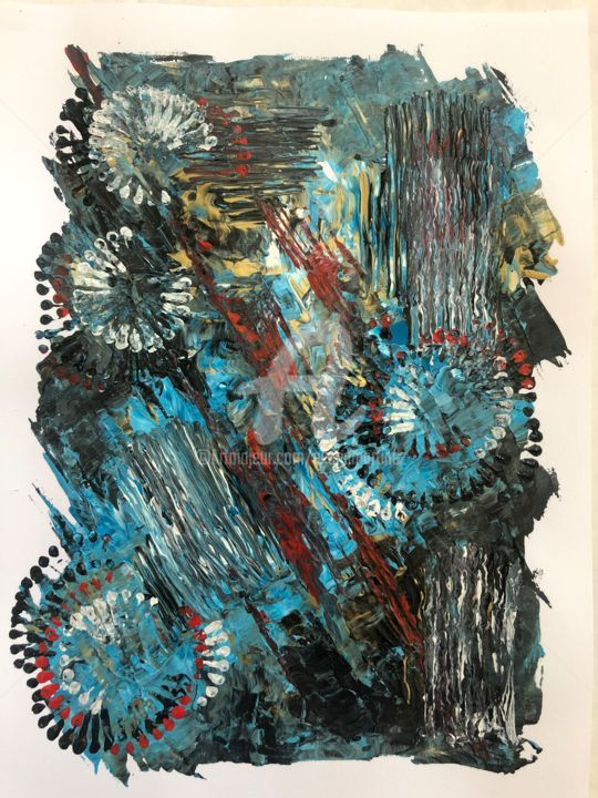 Untitled / Acrylic on Paper 9 in x 12 in - Painting,  12x9 in ©2018 by Eliana Martinez -