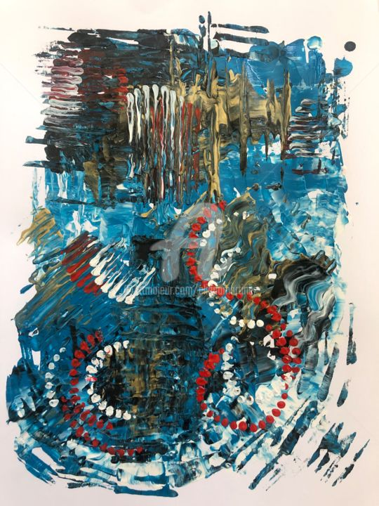 Untitled / Acrylic on Paper 9 in x 12 in - Painting,  9x12 in, ©2019 by Eliana Martínez -
