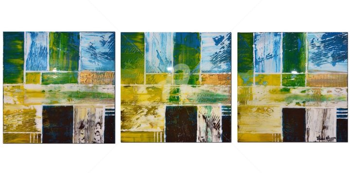 YELLOW (Tryptich) - Painting,  18x54 in, ©2015 by Eliana Martínez -                                                                                                                                                                          Abstract, abstract-570, Abstract Art