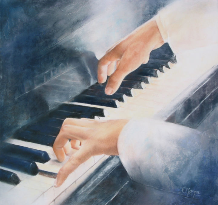 Nocturne - Painting,  15.8x15.8 in, ©2019 by ELIANE MARQUE -                                                                                                                                                                                                                                                                                                                                                                                                          Figurative, figurative-594, Music, Eliane Marque, pastel, musique, classique, jazz