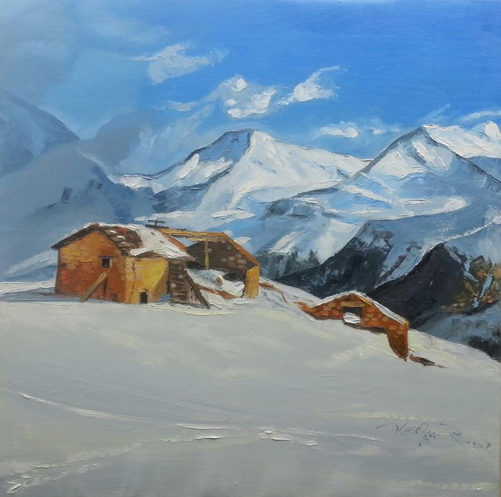 """Painting titled """"l'hiver"""" by Elie Kasonga, Original Art, Oil"""