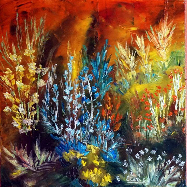 le-chant-des-fleurs-hst-40x40.jpg - Painting,  40x40 cm ©2018 by Eliette Gaurin -                                                            Contemporary painting, Canvas, Flower, Eliette Gaurin, peintre coloriste