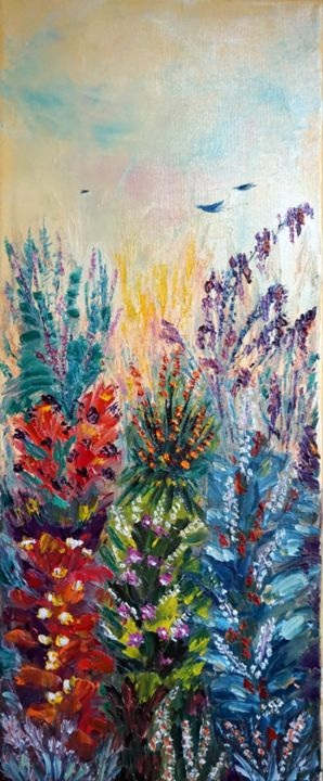 belles-elegantes-II-hst-20x50.jpg - Painting,  50x20 cm ©2019 by Eliette Gaurin -                                                            Contemporary painting, Canvas, Flower, Eliette Gaurin, peintre coloriste