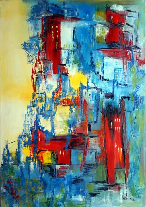 quartier-paisible-II-hst-50x70.jpg - Painting,  27.6x19.7 in ©2019 by Eliette Gaurin -                                            Contemporary painting, Abstract Art, Eliette Gaurin, peintre coloriste