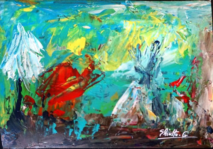DSC04629 10.5x15 - Painting,  4.1x5.9 in, ©2019 by Eliette Gaurin -                                                                                                                                                                                                                                                                      Abstract, abstract-570, Travel, Eliette Gaurin, peintre coloriste