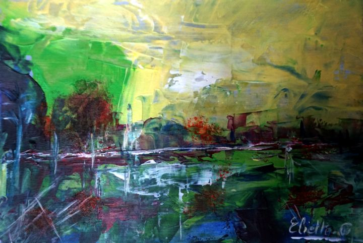 DSC05279 - Painting,  4.1x5.7 in, ©2017 by Eliette Gaurin -                                                                                                                                                                                                                                                                                                                                                              Expressionism, expressionism-591, Abstract Art, Landscape, Travel, Eliette Gaurin, peintre coloriste