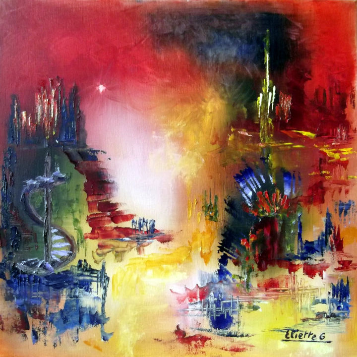 Vie imaginaire - Painting,  15.8x15.8 in, ©2011 by Eliette Gaurin -                                                                                                                                                                          Abstract, abstract-570, Huile sur toile