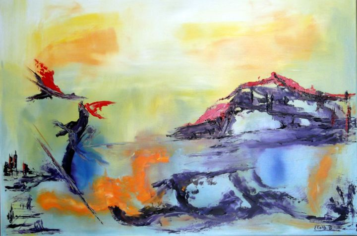 Envolee Mysterieuse - Painting,  19.7x27.6x0.4 in, ©2012 by Eliette Gaurin -                                                                                                                                                                          Abstract, abstract-570, HST
