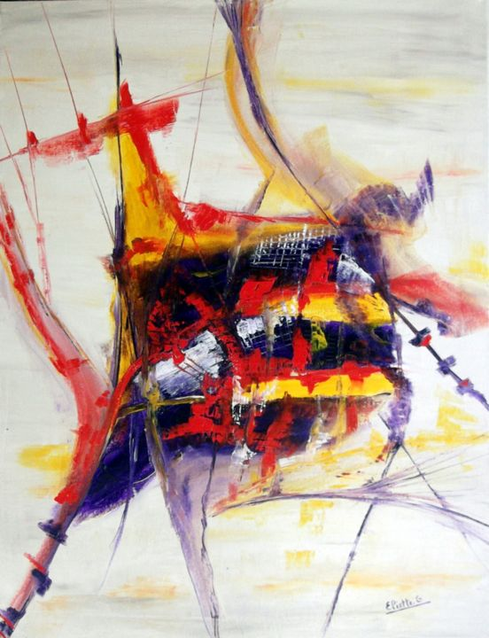Bateau Pirate - Painting,  27.6x19.7 in, ©2013 by Eliette Gaurin -                                                                                                                                                                          Abstract, abstract-570, HST