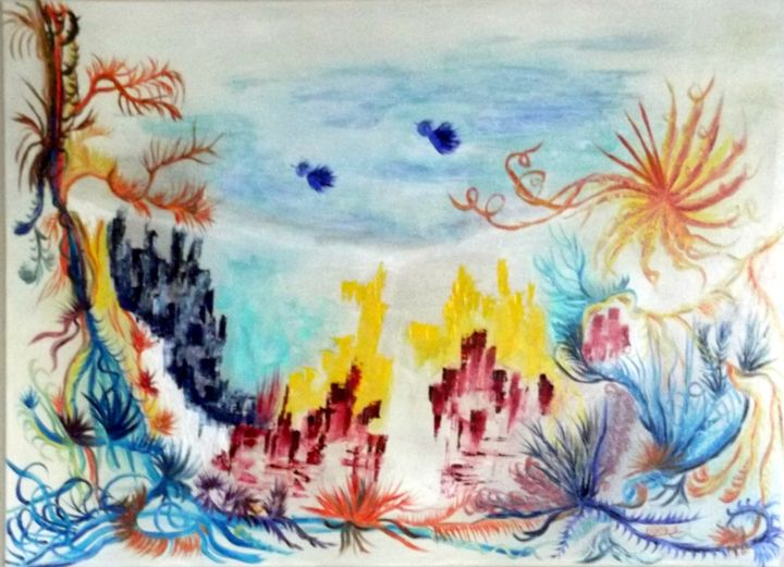 oiseaux-bleus-hst-50x70.jpg - Painting,  19.7x27.6 in, ©2014 by Eliette Gaurin -                                                                                                                                                                          Abstract, abstract-570, HST