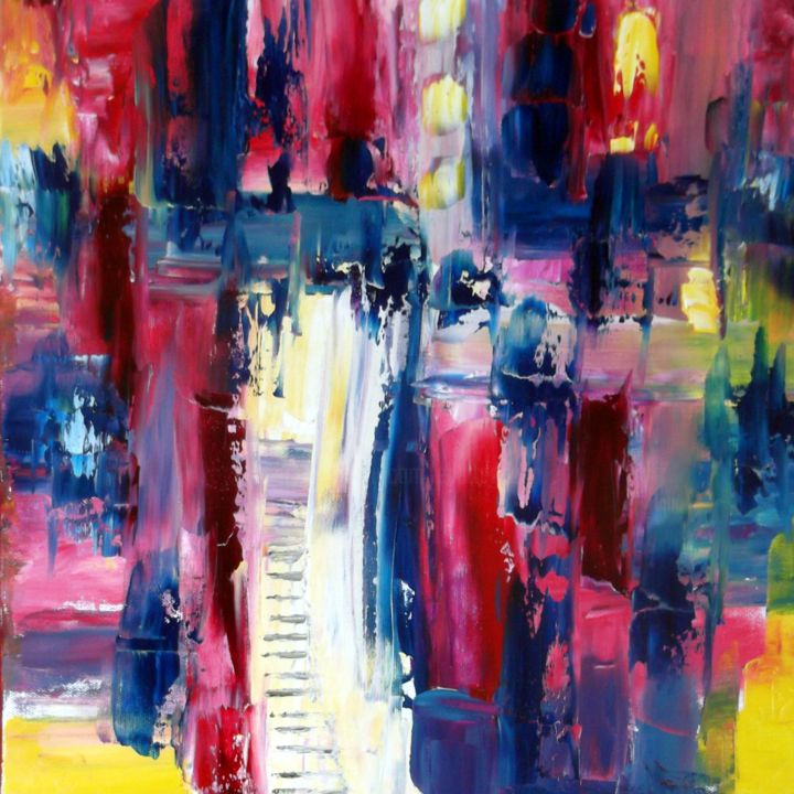 la-porte-vers-la-lumiere-hst-40x40.jpg - Painting,  15.8x15.8 in, ©2015 by Eliette Gaurin -                                                                                                                                                                          Expressionism, expressionism-591, Abstract Art