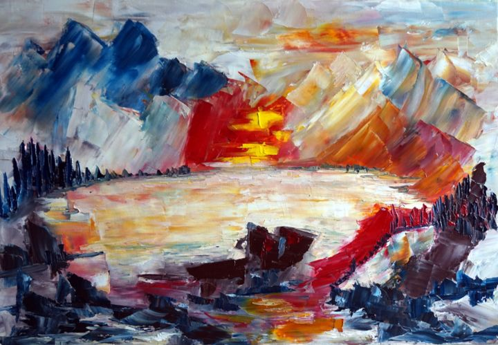 lac-de-montagne-hst-50x70.jpg - Painting,  19.7x27.6 in, ©2016 by Eliette Gaurin -                                                                                                                                                                                                                          Expressionism, expressionism-591, Abstract Art, Eliette Gaurin coloriste
