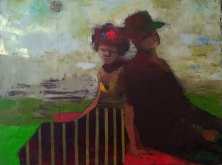 """Painting titled """"Two on the roof. Oi…"""" by Elinor Brodsky, Original Art, Oil"""