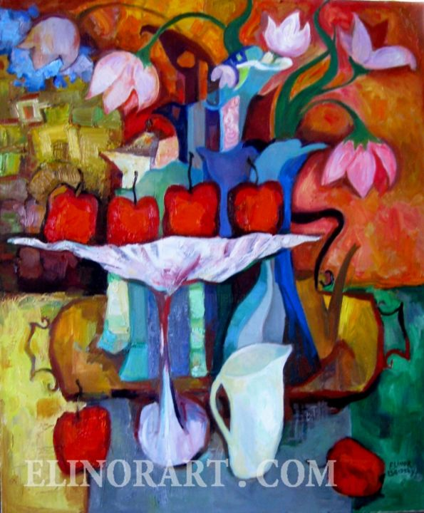 """Painting titled """"Still life with red…"""" by Elinor Brodsky, Original Art,"""