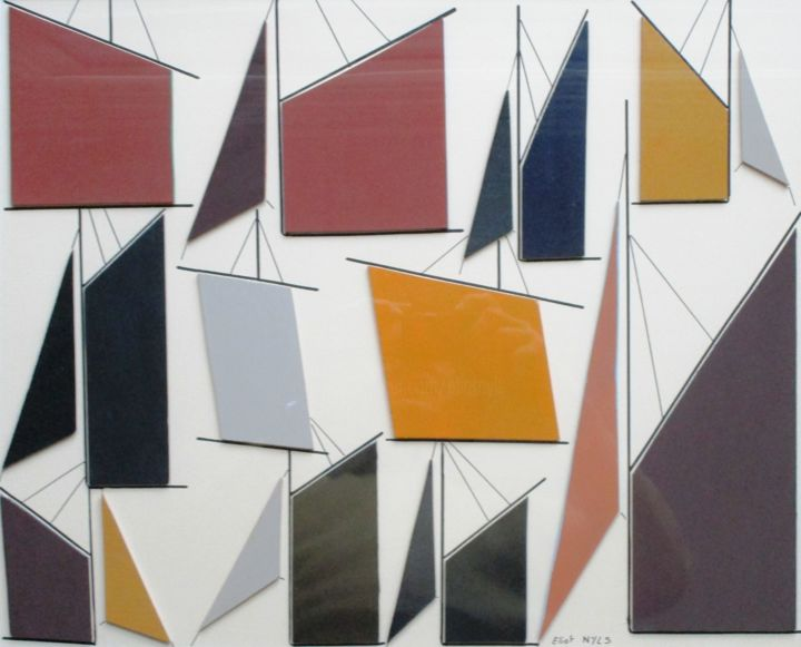 Misainiers - Collages,  19.7x27.6 in, ©2020 by NYLS  Eliot -                                                                                                                                                                                                                                                                                                                                                                                                                                                      Abstract, abstract-570, Sailboat, voiles, Eliot Nyls, Eric Nachon, mer, Bretagne, acrylique