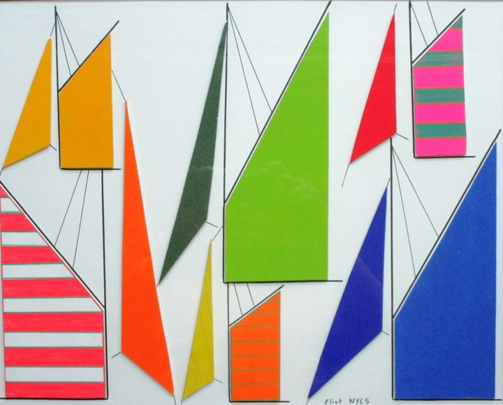Atlantic Sails - Collages,  19.7x27.6 in, ©2020 by NYLS  Eliot -                                                                                                                                                                                                                                                                                                                                                                                                          Abstract, abstract-570, Sailboat, voiles, Bretagne, acrylique, Eric Nachon, mer