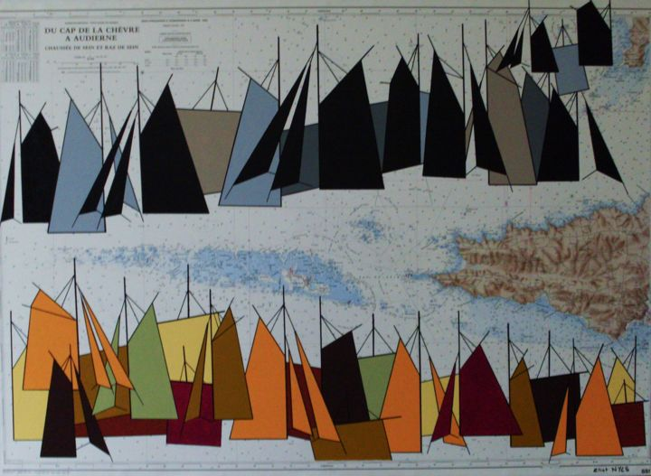du-cap-de-la-chevre-a-audierne-100x73.jpg - Painting,  28.7x39.4 in, ©2015 by NYLS  Eliot -                                                                                                                                                                                                                                                                      Abstract, abstract-570, Sailboat, voiles, eliot Nyls