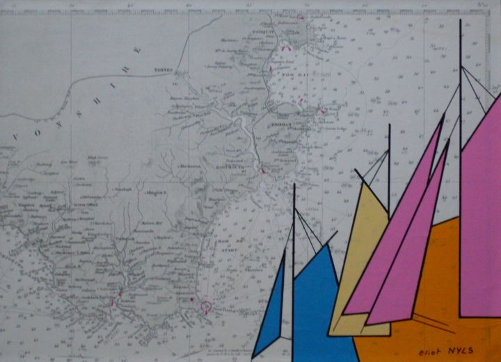 fete-de-la-mer-a-darmouth-g-b-24x33.jpg - Painting,  9.5x13 in, ©2015 by NYLS  Eliot -                                                                                                                                                                                                                                                                                                                  Abstract, abstract-570, Sailboat, voiles, carte marine, eliot Nyls