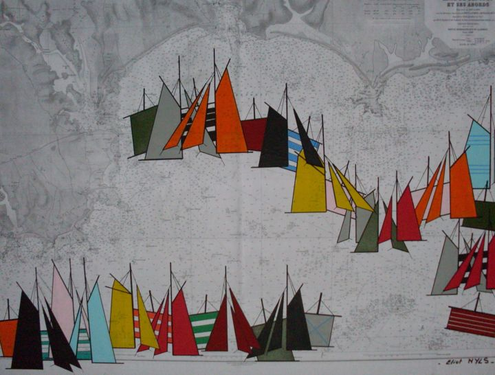 anse-de-benodet-100x81-2015.jpg - Painting,  31.9x39.4 in, ©2015 by NYLS  Eliot -                                                                                                                                                                                                                                                                                                                  Abstract, abstract-570, Sailboat, voiles, carte marine, eliot nyls