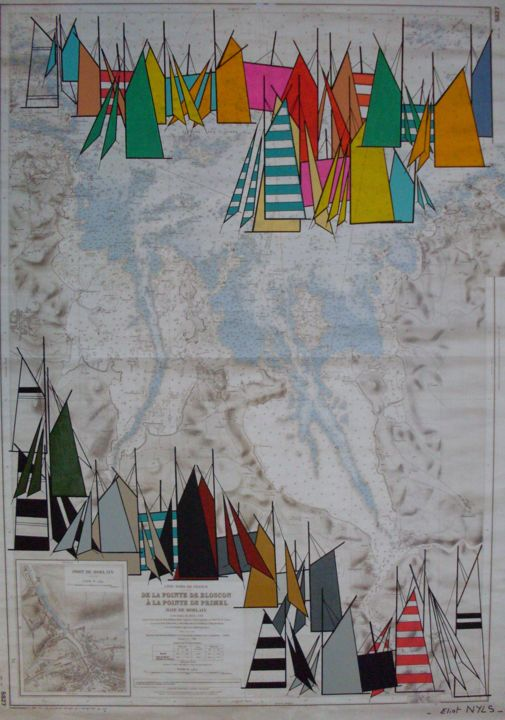 voiles-contemporaines-d-eliot-nyls-en-baie-de-morlaix-2.jpg - Painting,  45.7x31.9 in, ©2015 by NYLS  Eliot -                                                                                                                                                                                                                                                                                                                  Abstract, abstract-570, Sailboat, nyls, marines, voiles
