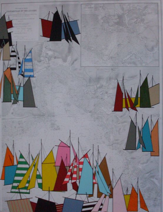 concarneau-100x81-2015.jpg - Painting,  39.4x31.9 in, ©2015 by NYLS  Eliot -                                                                                                                                                                                                                          Abstract, abstract-570, Sailboat, voiles