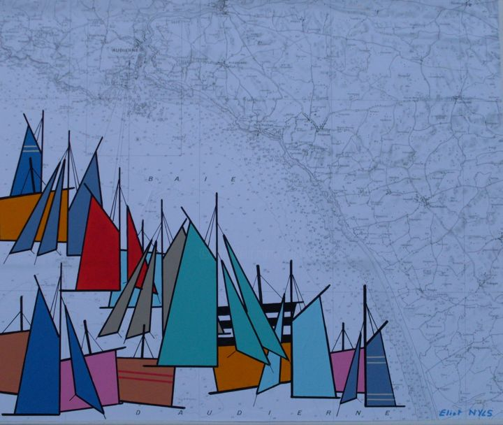 la-baie-d-audierne-les-voiles-bleues-46x55-2015.jpg - Painting,  18.1x21.7 in, ©2015 by NYLS  Eliot -                                                                                                                                                                                                                                                                      Abstract, abstract-570, Sailboat, voiles, marines