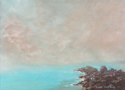 """Painting titled """"Blue Lagoon"""" by Elisabet Stacy-Hurley, Original Art,"""