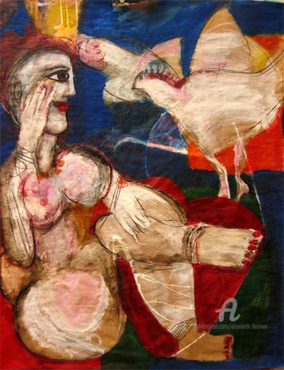 L'oiseau messager - Painting,  39.4x31.9 in, ©2008 by Elisabeth Brainos -