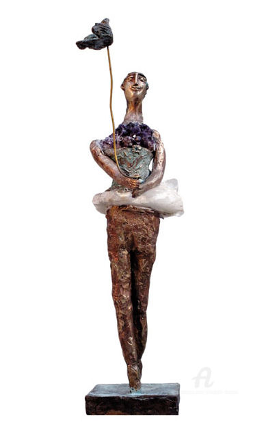 Celle qui promène l'oiseau sur une tige - Sculpture,  11 in, ©2009 by Elisabeth Brainos -                                                                                                                                                                                                                                                                                                                                                              Figurative, figurative-594, Women, Birds, elisabeth brainos, bronze, sculpture