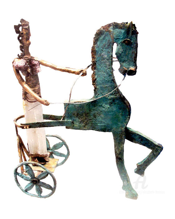 La conductrice de char crétoise - Sculpture, ©2014 by Elisabeth Brainos -                                                                                                                                                                                                          Bronze, Women, conductrice char, cheval