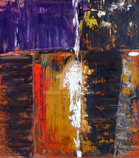 Sans titre - Painting,  15.8x11.8x0.4 in, ©2012 by Elisabeth Ait Larbi-Mangourny -                                                                                                                                                                          Abstract, abstract-570, Huile sur carton
