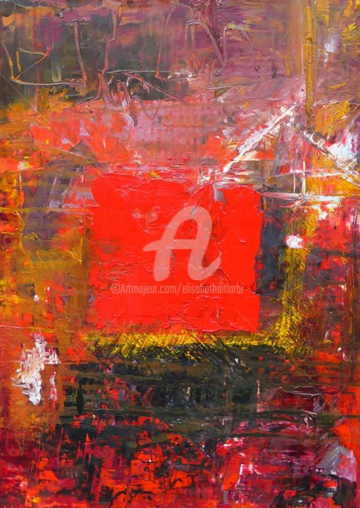 carré rouge huile-sur-carton - Painting,  16.5x12.6 in, ©2014 by Elisabeth Ait Larbi-Mangourny -                                                                                                                          Abstract, abstract-570