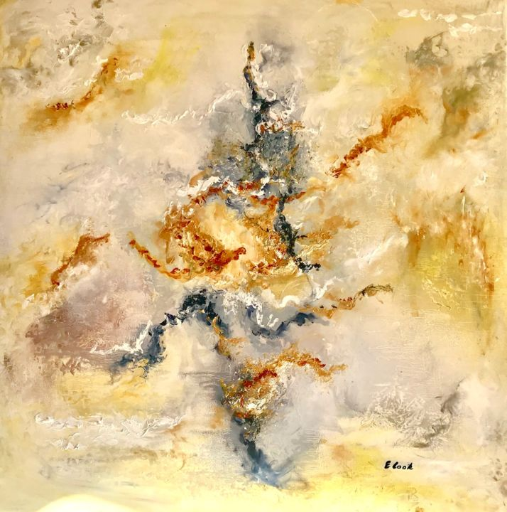 I Could Have Danced All Night - Painting,  80x80 cm ©2017 by Elisa Cook -                                            Abstract Art, Canvas, jaune, abstrait, ocre, lumiere, noir, brun, rouille, rouge, or, dore