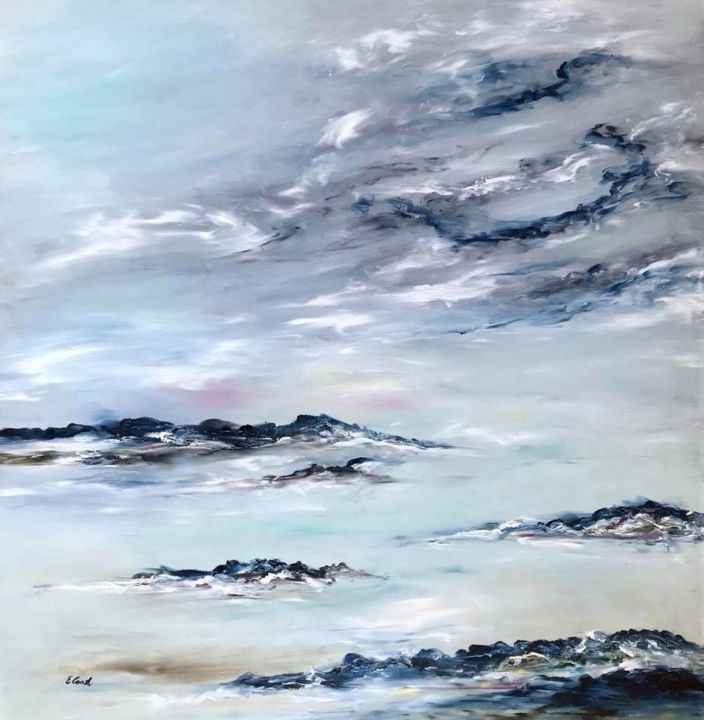 Songs of Early Morning - Painting,  80x80 cm ©2018 by Elisa Cook -                                                            Abstract Expressionism, Canvas, Seascape, sea, clouds, sky, blue, peace, calm, marine, landscape, water, light, hope, inspiration, earlymorning, contemporaryartist, spanishartist, swissartist