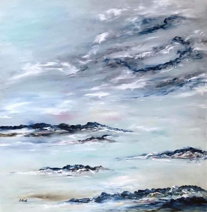 Songs of Early Morning - Painting,  31.5x31.5 in, ©2018 by Elisa Cook -                                                                                                                                                                                                                                                                                                                                                                                                                                                                                                                                                                                                                                                                                                                                                                                                                                                                                                              Abstract, abstract-570, Seascape, sea, clouds, sky, blue, peace, calm, marine, landscape, water, light, hope, inspiration, earlymorning, contemporaryartist, spanishartist, swissartist