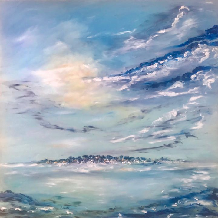 Sea of Light - Painting,  80x80 cm ©2018 by Elisa Cook -                                                            Impressionism, Canvas, Seascape, sea, blue, serenity, light, yellow, marinelandscape, tide, waves, sky, clouds, wellness, spanishartist, swissartist, seascape, earlymorning, happyfeelings, hope, dawn, sunrise, water, intimacy