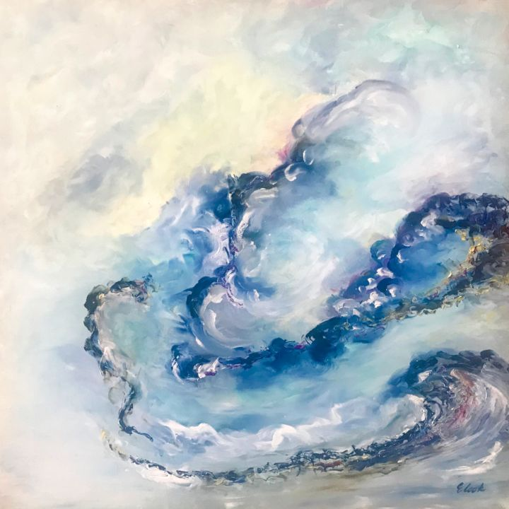 The moment after - Painting,  60x60 cm ©2018 by Elisa Cook -                                                            Abstract Art, Canvas, Abstract Art, abstractpaintng, blue, serenity, warmfeelings, yellow, light, hope, morning, earlymorning, dawn, peace, sea, water, clouds, sky, swisspainter, spanishpaintng