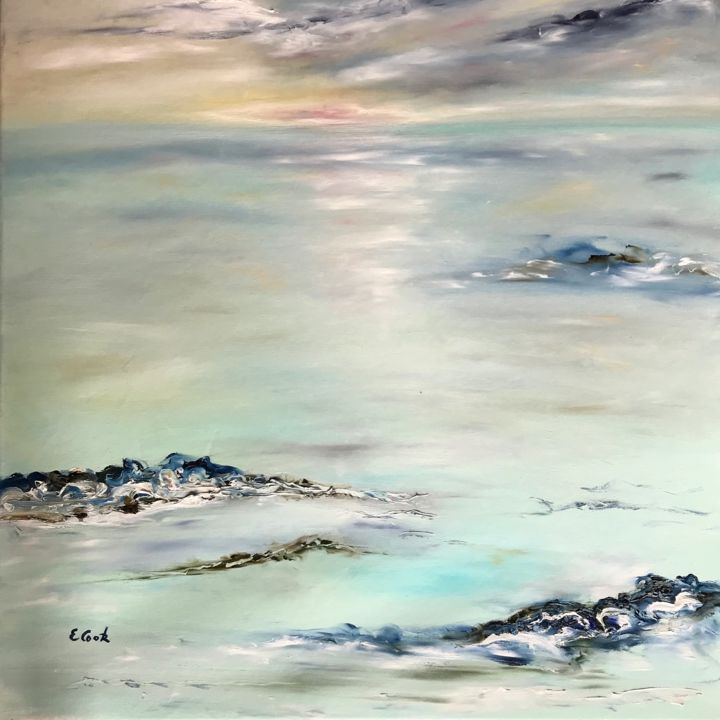 As Tomorrow Falls - Painting,  73x60 cm ©2018 by Elisa Cook -                                                            Figurative Art, Canvas, Seascape, mer, bleu, eau, reflets, ciel, soleilcouchant, soleil, turquoise, nuages, nostalgie, calme, lumiere
