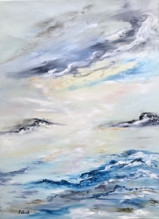 Where Angels Fly Free - Painting,  74x55 cm ©2018 by Elisa Cook -                                                            Impressionism, Canvas, Landscape, blue, landscape, sky, clouds, serenity, angels, flying, freedom, softfeelings, sea, reflections, free, water